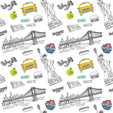 手描きスケッチ タクシー、ホットドッグ、ハンバーガー、manhatan 橋、新聞の自由の女神像とニューヨーク市のシームレスなパターン。白で隔離落書  イラスト・ベクター素材