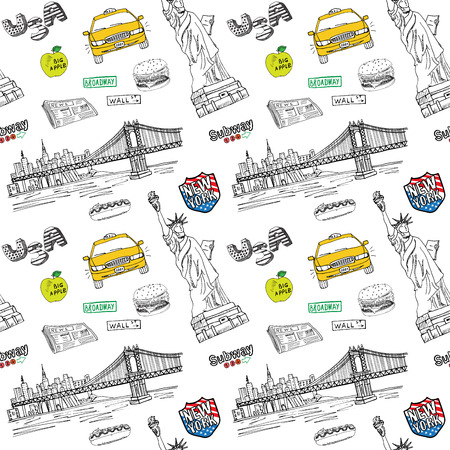 new york taxi: New York city seamless pattern with Hand drawn sketch taxi, hotdog, burger, statue of liberty, newspaper, manhatan bridge. Drawing doodle vector illustration, isolated on white.