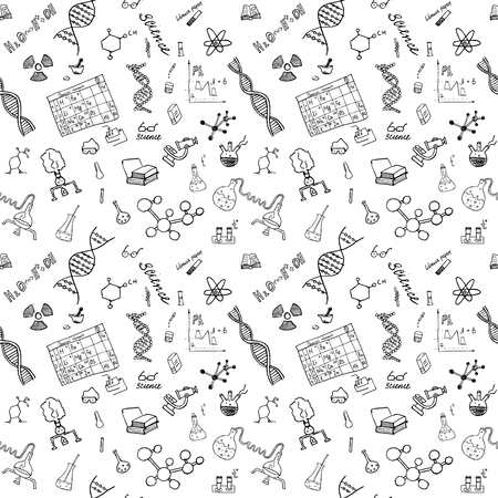 Chemistry and science seamless pattern with sketch elements Hand Drawn Doodles background Vector Illustration.