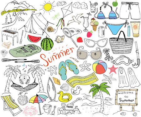 raft: Summer season doodles elements. Hand drawn sketch set with sun, umbrella, sunglasses, palms and hammock, beach, camping items, mountains, tent, raft, grill, kite. Drawing doodle, isolated on white. Illustration