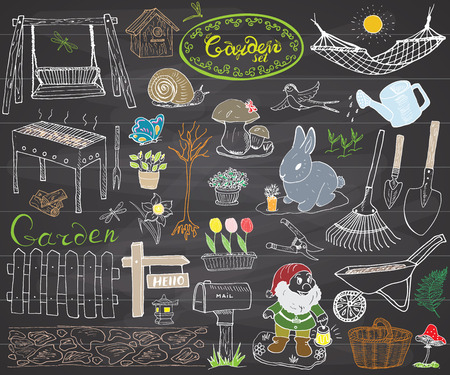 lawn gnome: Garden set doodles elements. Hand drawn sketch with gardening tools, flovers and plants, garden figures, gnome mushrooms, rabbit, nest and birds, backyard swing. Drawing doodle, on chalkboard.