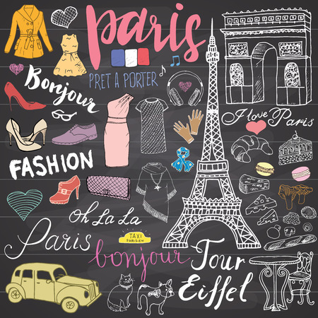 pasteleria francesa: París garabatos elementos. Conjunto drenado mano con la torre Eiffel café criado, arco de taxi Triumf, Notre Dame, elementos facion, gato y bulldog francés. Dibujo colección garabato, en la pizarra.