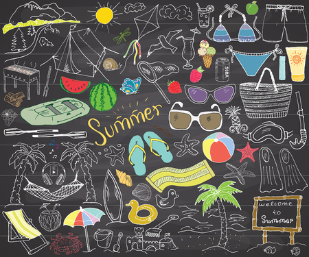Summer season doodles elements. Hand drawn sketch set with sun, umbrella, sunglasses, palms and hammock, beach, camping items and mountains, tent and raft, grill, kite. Drawing doodle, on chalkboard.