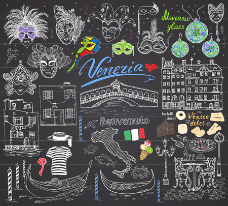 gondolier: Venice Italy sketch elements. Hand drawn set with flag, map, gondolas gondolier clothe, houses, pizza, traditional sweets, carnival venetian masks, market bridge. Drawing doodles on chalkboard.