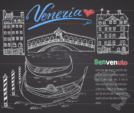 venezia: Venice Italy sketch elements. Hand drawn set with flag, map, gondolas, houses, market bridge. Lettering Venice, welcome in Italian. Drawing doodle collection and sampe text, on chalkboard. Illustration