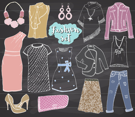 leather skirt: Fashion collection Doodles set. Hand Drawn Sketch with dress shoes, pants and jacket, handbag and accessories vector Illustration Design Elements on chalkboard Background. Illustration