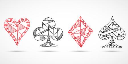 blackjack: Hand drawn sketched Playing cards, poker, blackjack symbol, background, doodle hearts diamonds spades and clubs symbols.