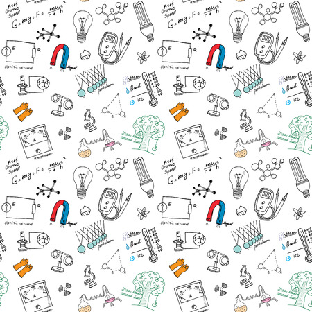 Physics iand sciense seamless pattern with sketch elements Hand Drawn Doodles background Vector Illustration.
