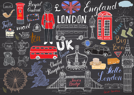 London city doodles elements collection. Stock Illustratie