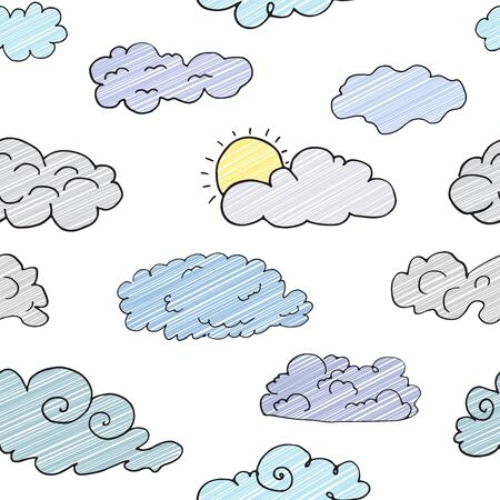 watter: Hand drawn Doodle set of different Clouds, sketch Collection  vector illustration isolated on white. Illustration