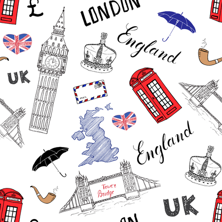 bridge hand: London city doodles elements seamless pattern. with hand drawn tower bridge, crown, big ben, red bus, UK map, flag,and lettering, vector illustration isolated.