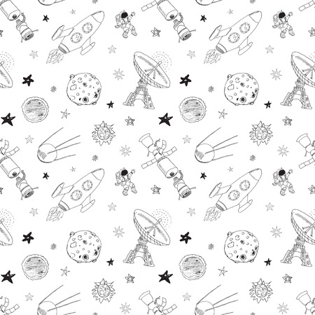 meteors: Space doodles icons seamless pattern. Hand drawn sketch with meteors, Sun and Moon, radar, astronaut rocket and stars. vector illustration isolated.