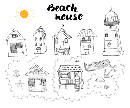 beach hut: Beach huts and bungalows, hand drawn outline doodle set with light house wooden boat and anchor, seashells and footsteps on sandy beach, vector illustation isolated on white background.