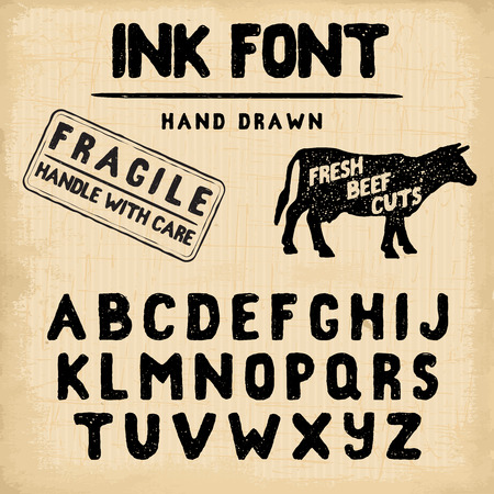 western script: Hand Made Ink stamp font. Handwritten alphabet. Vintage retro textured hand drawn typeface with grunge effect, good for custom logo or emblrm. Vector illustration. on retro paper background.