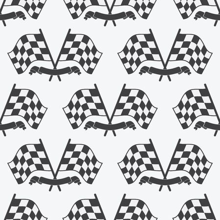 race winner: Checkered Flag seamless pattern, racing flags icon and finish ribbon. Sport auto, speed and success, competition and winner, race rally, vector illustration.
