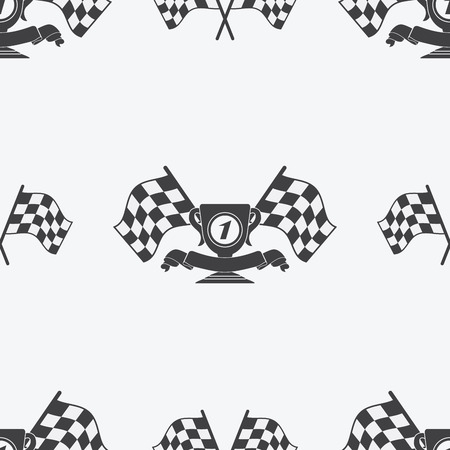race winner: Checkered Flag or racing flags icon seamless pattern first place prize cup and finish ribbon. Sport auto, speed and success, competition and winner, race rally, vector illustration.