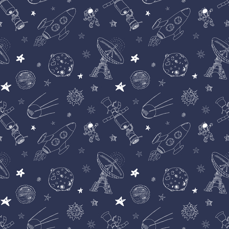 meteors: Space doodles icons seamless pattern. Hand drawn sketch with meteors, Sun and Moon, radar, astronaut rocket and stars. vector illustration.