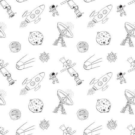 meteors: Space doodles icons seamless pattern. Hand drawn sketch with meteors, Sun and Moon, radar, astronaut and rocket. vector illustration isolated.
