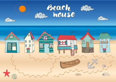 Capanne della spiaggia e bungalow, disegnata a mano contorno di colore doodle con luce casa barca di legno e ancora, conchiglie e passi sulla spiaggia di sabbia, vettore illustation. Vettoriali