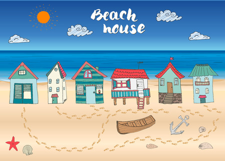 Beach huts and bungalows, hand drawn outline color doodle set with light house wooden boat and anchor, seashells and footsteps on sandy beach, vector illustation.