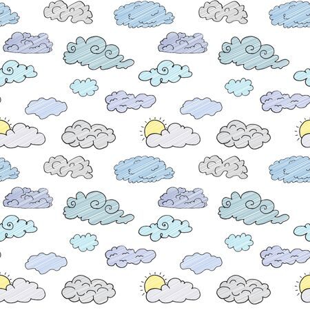 Hand drawn Doodle set of different Clouds, sketch Collection  vector illustration isolated on white. Illustration