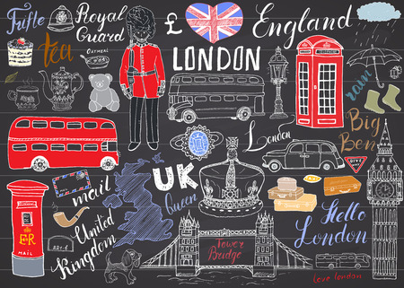 hand guard: London city doodles elements collection. Hand drawn set with, tower bridge, crown, big ben, royal guard, red bus and cab, UK map and flag, tea pot, lettering, vector illustration isolated.