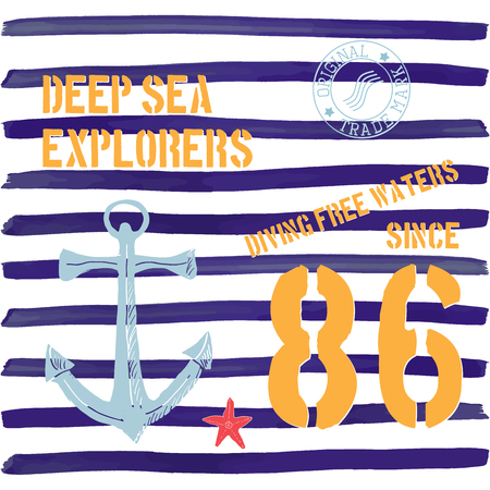 deepsea: T-shirt typography design, deep sea explorers printing graphics, typographic vector illustration, Navy, diving water text, graphic design for label or t-shirt print, Badge, Applique. Illustration