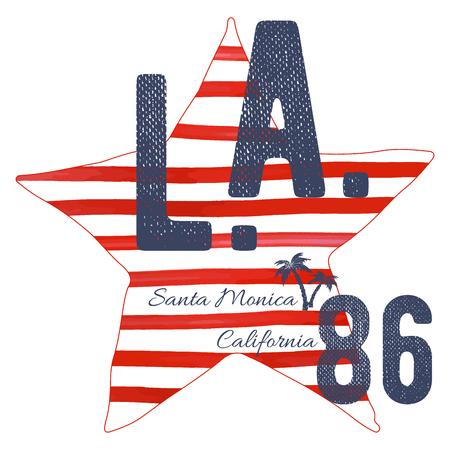 T-shirt typography design, LA california santa monica beach  printing graphics, typographic  vector illustration, Los Angeles graphic design for label or t-shirt print, Badge, Applique. Illustration