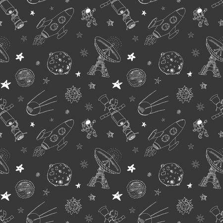meteors: Space doodles icons seamless pattern. Hand drawn sketch with meteors, Sun and Moon, radar, astronaut rocket and stars. vector illustration on chalkboard.