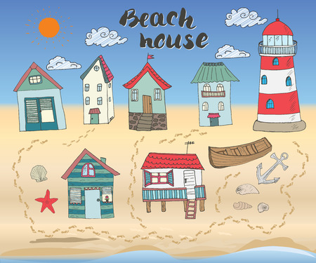 beach hut: Beach huts and bungalows, hand drawn outline color doodle set with light house wooden boat and anchor, seashells and footsteps on sandy beach, vector illustation.