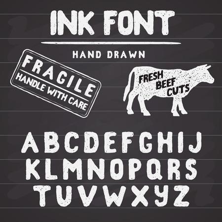 western script: Hand Made Ink stamp font. Handwritten alphabet. Vintage retro textured hand drawn typeface with grunge effect, good for custom logo or emblrm. Vector illustration. on chalkboard background.
