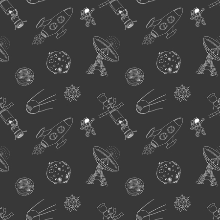 meteor crater: Space doodles icons seamless pattern. Hand drawn sketch with meteors, Sun and Moon, radar, astronaut and rocket. vector illustration on chalkboard. Illustration