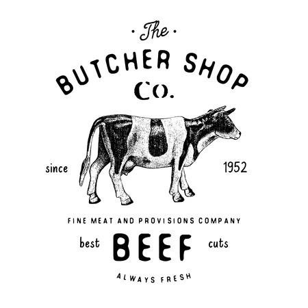 productos a base de carne de res emblema de la vendimia de la carnicería, carnicería plantilla del logotipo de estilo retro. Diseño de la vendimia para el logotipo, marca, insignia y el diseño de la marca. ilustración del vector aislado en blanco.