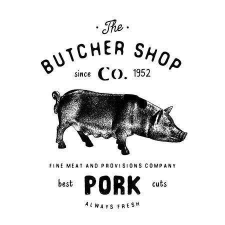 정육점 빈티지 상징 돼지 고기 제품, 도살 로고 템플릿 복고 스타일입니다. 로고, 라벨, 배지 및 브랜드 디자인 빈티지 디자인. 벡터 일러스트 레이 션  일러스트