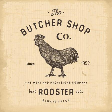 butcher shop: Butcher Shop vintage emblem rooster meat products, butchery template retro style. Vintage Design for , Label, Badge and brand design. vector illustration.