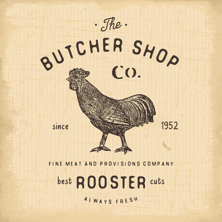 retro vector: Butcher Shop vintage emblem rooster meat products, butchery template retro style. Vintage Design for , Label, Badge and brand design. vector illustration.
