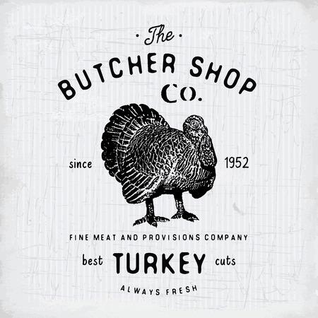 Butcher Shop vintage embleem kalkoenvlees producten, slagerij sjabloon retro stijl. Vintage Design for, Label, Badge en brand design. vector illustratie.