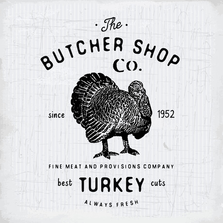 chuck: Butcher Shop vintage emblem turkey meat products, butchery template retro style. Vintage Design for , Label, Badge and brand design. vector illustration.