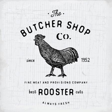 Butcher Shop emblème cru produits de viande de coq, modèle de boucherie style rétro. Vintage Design pour, Étiquette, Badge et design de la marque. illustration vectorielle.