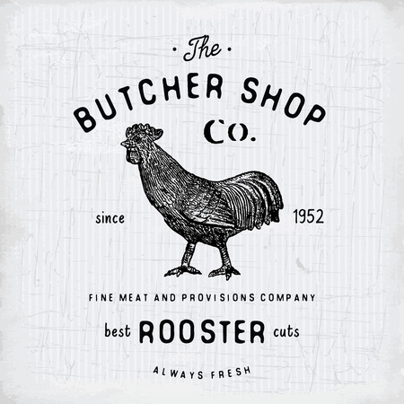 Butcher Shop vintage emblem rooster meat products, butchery template retro style. Vintage Design for , Label, Badge and brand design. vector illustration.