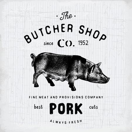 farm shop: Butcher Shop vintage emblem pork meat products, butchery template retro style. Vintage Design for , Label, Badge and brand design. vector illustration.