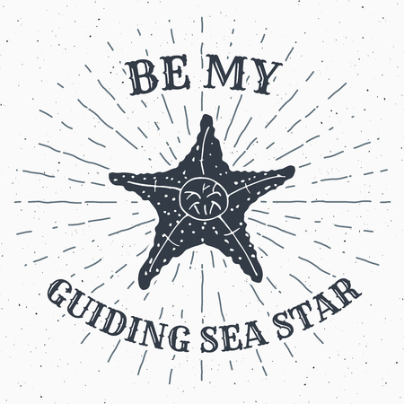 sunrays: Hand drawn textured grunge vintage label, retro badge or T-shirt typography design with starfish and sunrays vector illustration  .