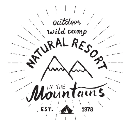 mountaintop: Mountains handdrawn sketch emblem. outdoor camping and hiking activity, Extreme sports, outdoor adventure symbol, vector illustration isolated on white background.