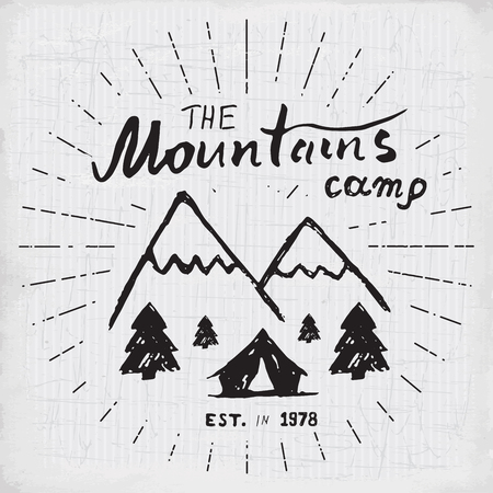 rocky mountain: Mountains handdrawn sketch emblem. outdoor camping and hiking activity, Extreme sports, outdoor adventure symbol, vector illustration on grunge background. Illustration
