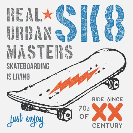 T-shirt typography design, skateboard printing graphics, typographic skateboarding vector illustration, Urban skaters graphic design for label or t-shirt print, Badge, Applique.