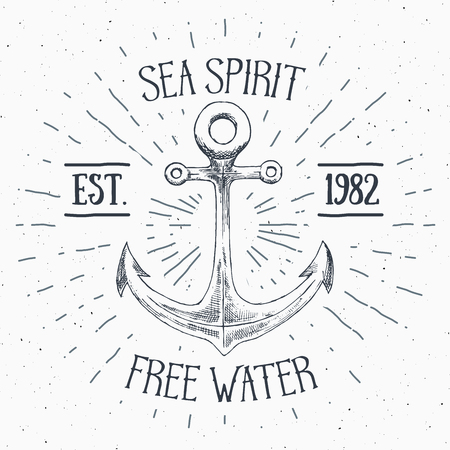 sunrays: Hand drawn sketched anchor, textured grunge vintage anchor label, retro badge or T-shirt typography design with anchor and sunrays vector illustration.
