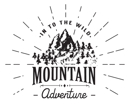 winter range: Mountains handdrawn sketch emblem. outdoor camping and hiking activity, Extreme sports, outdoor adventure symbol, vector illustration isolated on white background.