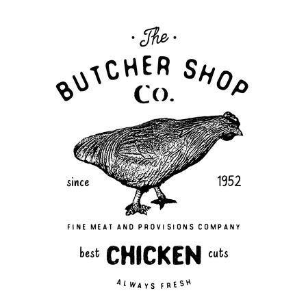 illustrati: Butcher Shop vintage emblem, chiken meat products, butchery template retro style. Vintage Design for , Label, Badge and brand design. vector illustrati on isolated.