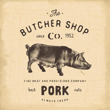 Butcher Shop vintage embleem varkensvlees producten, slagerij Logo sjabloon retro stijl. Vintage Design for Logotype, Label, Badge en brand design. vector illustratie. Logo
