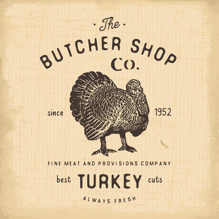 Butcher Shop vintage emblem turkey meat products, butchery Logo template retro style. Vintage Design for Logotype, Label, Badge and brand design. vector illustration isolated on white.